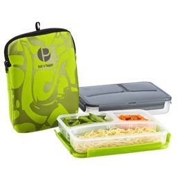 1 container, 1 lid, and space for 3 foods. This is exactly what I need for kids' lunches. Divided Lunch-to-Go 19.99 at Container Store.