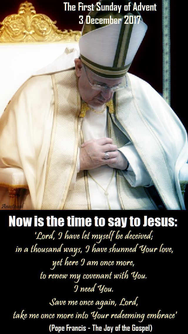 """Thought for the Day – 3 December """"Praying Advent with Pope Francis' Apostolic Exhortation – """"The Joy of the Gospel"""" Pope Francis begins by warning us about how our culture impacts us and robs us of our joy and our compassion: The great danger in today's world, pervaded as it is by consumerism, is the desolation ....#mypic"""