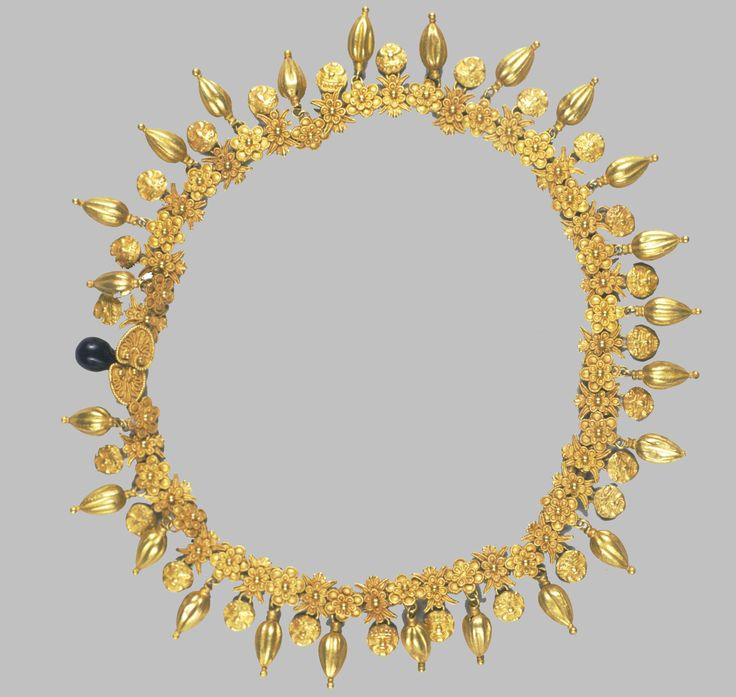 Necklace/Greek, 5th Century B.C.     Gold: molding in a cast, engraving