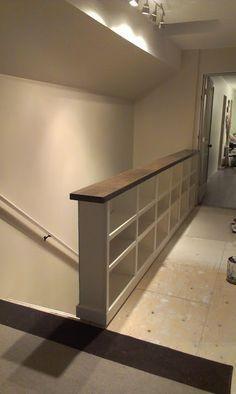 Bookcase stair rail banister. Dads house upstairs. Show them. http://renovandlove.com/entreprise-renovation-appartement-paris/ Renov&Love – Rénovation d'appartement 51 rue cambronne 75015 Paris 09 70 73 33 28 #renovation #appartement #paris #déco #maison #decorateur #decoration #relooking #cuisine #salledebain #studio