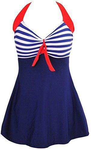 TDOLAH Ladies Polka Bikini Dress Plus Size Swimming Costume Retro Beachwear Halterneck Swimsuit with Short TDOLAH is a registered brand, it has own TDOLAH trademark and tag, Trademark Number: 013147392 One-Piece Swimming Costume featuring Halterneck(attached boyshort swim bottom) Please do not use the Amazon size guide Wash in cold water, Can not iron and do not bleach Great for Beach / Resorts, Amazing Summer Swim Dress/Suit More new products, Please click on the brand name