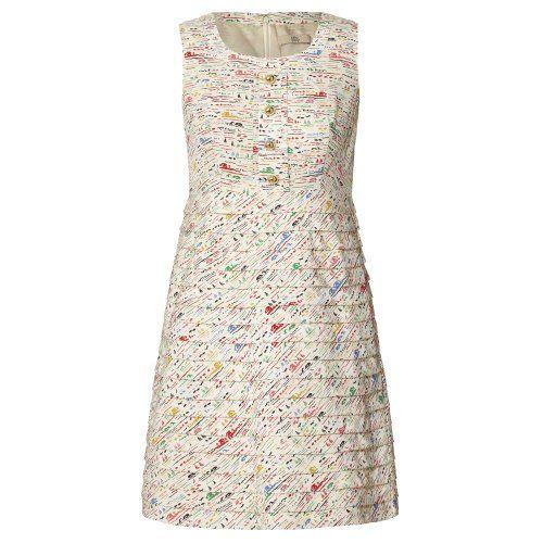 Silk Crepe Riviera Print Pleat Skirt Dress (XS, Multi) Orla Kiely