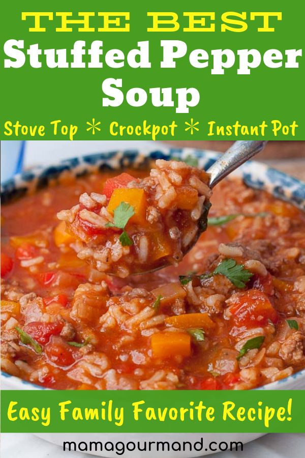 Apr 1, 2020 – Stuffed Pepper Soup is the best recipe out for an easy, healthy, flavorful, one pot comfort food. Slow coo…
