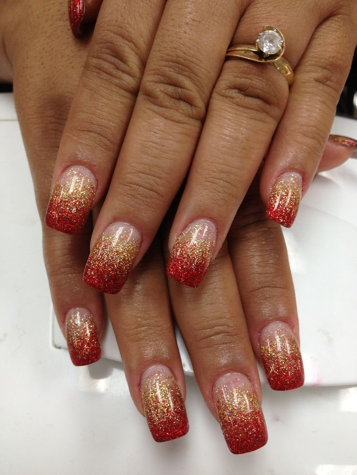 Best 25 red and gold nails ideas on pinterest christmas shellac red and gold glitter faded acrylic nails prinsesfo Image collections