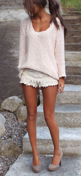 Lace crochet shorts outfit
