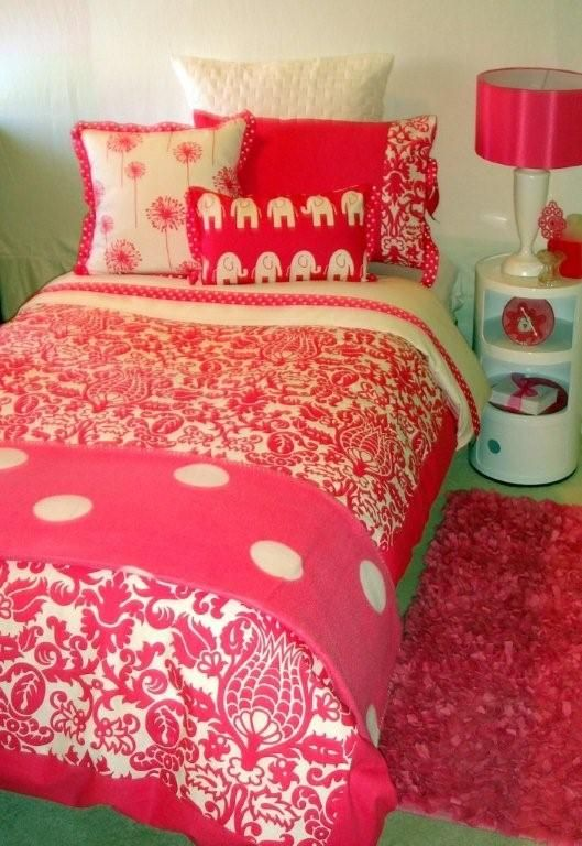 Pink Power Dorm Room Bedding -  Teen Bedding Set