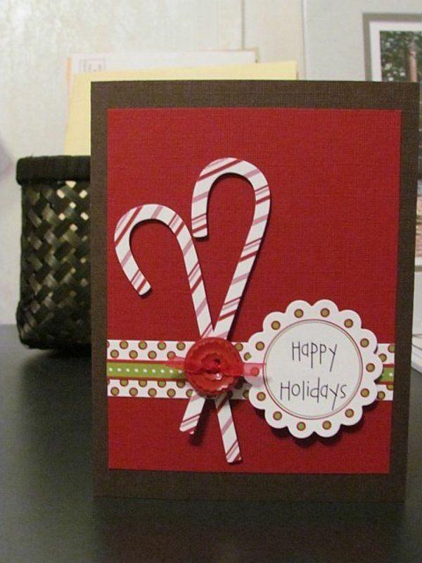 basteln rot zuckerstangen einfache weihnachtskarten