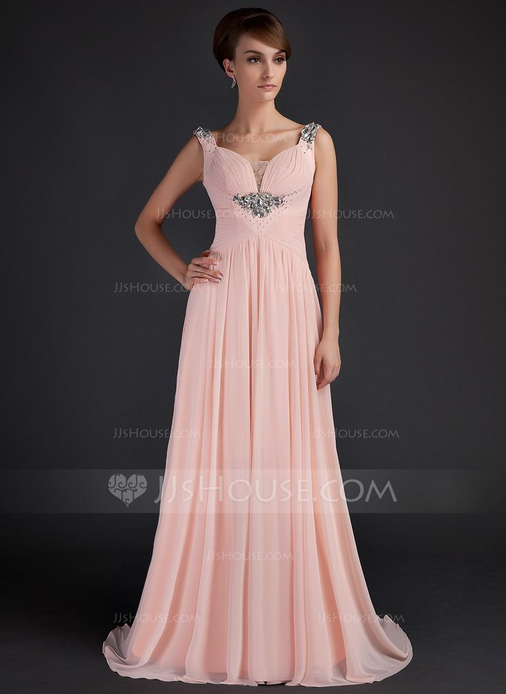 A-Line/Princess Scoop Neck Sweep Train Chiffon Tulle Mother of the Bride Dress With Ruffle Beading (008015645) - JJsHouse