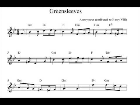 Greensleeves on soprano recorder - sheet music - YouTube