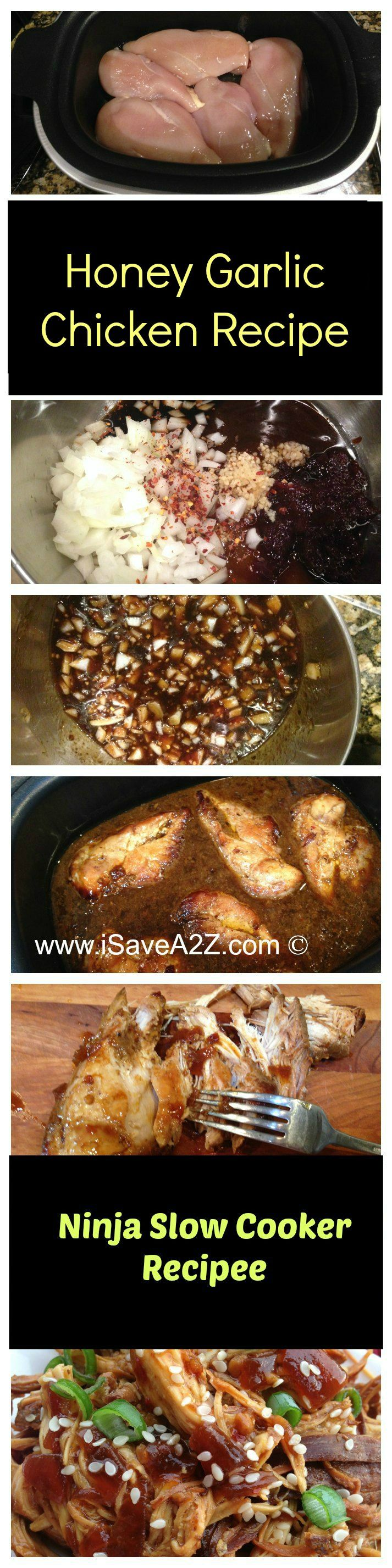 Honey Garlic Chicken Recipe made in my Ninja Slow Cooker!  This recipe is CRAZY GOOD!!! iSaveA2Z.com