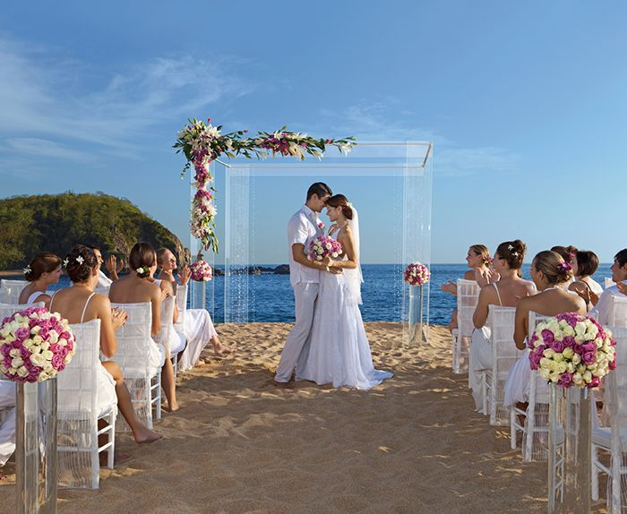 Secrets Resorts Spas Huatulco Mexico Wedding Couple On Sandy Beach Modern Gazebo Overlooking Pacific