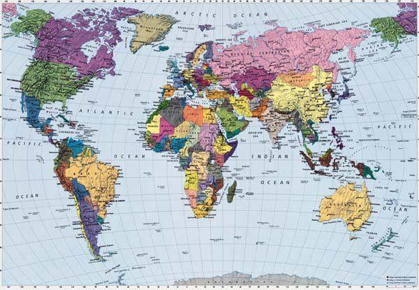 Wereldkaart behang staatkundig - Muurdeco4kids