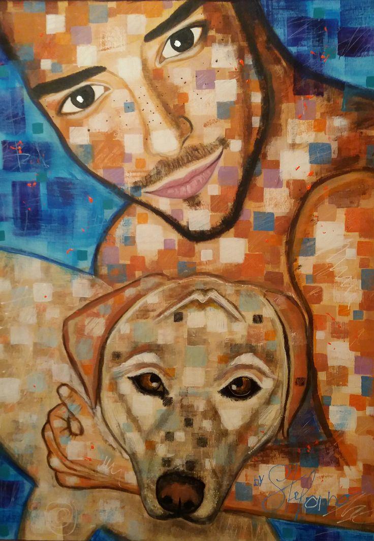Friends by STEFANO acrylic on canvas(50x70cm) fashion art 2016 acrylic,portrait,painter,art,fineart,painting,faces.dog,modernpainting,artist,painter