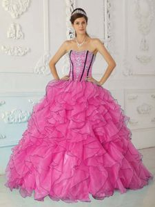 Ruffled Layers Pink Dress Quinceanera with Appliques on Discount