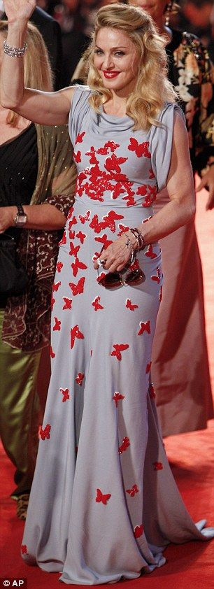 Venice Film Festival 2011: Madonna wears butterfly dress on red carpet at W.E. premiere | Mail Online