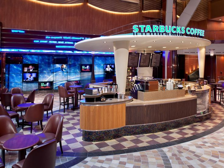 The first Starbucks at sea debuted in 2010 on Royal Caribbean's Allure of the Seas.