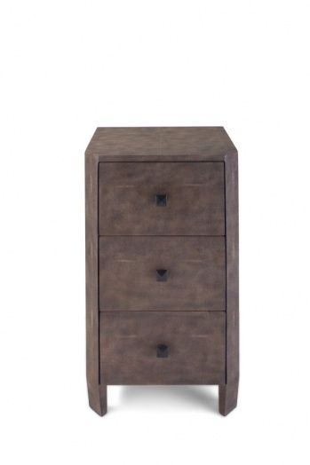 Faux shagreen skin nightstand. Brown color.