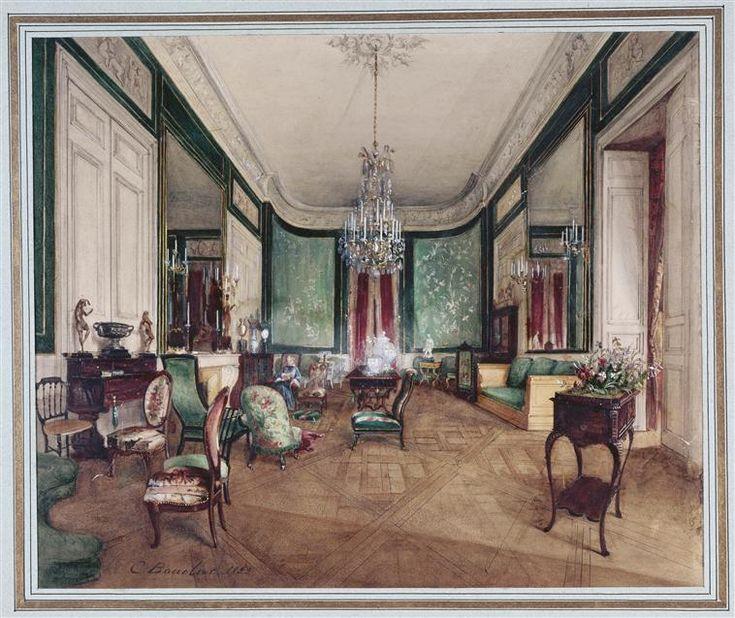 Vue d'ensemble du Grand Salon d'un htel rue Neuve des Capucines,. Interior  PaintingGrands SalonsCapucineMarieLa Grande19th Century