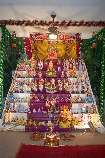 Navarathri gombe doll arrangement for festival for Navratri decorations at home