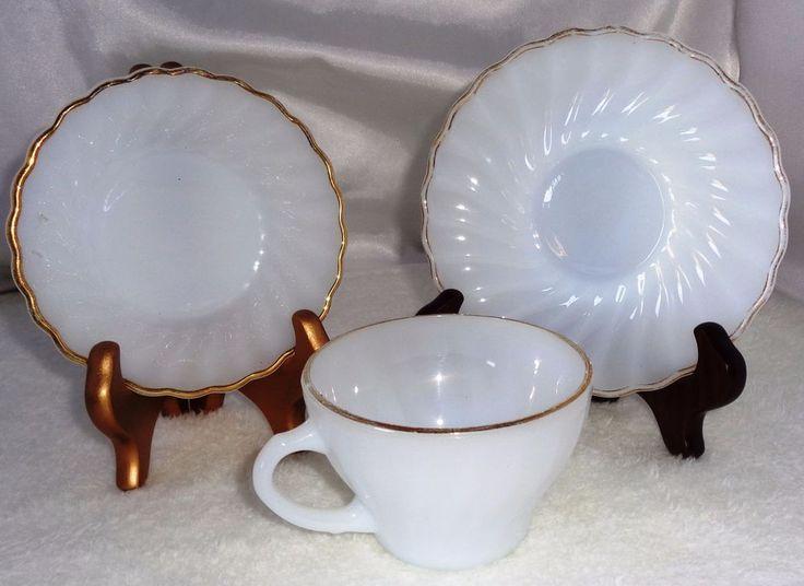 Anchor Hocking Cup & Saucer and Dessert  Bowl  Milk Glass Gold Trim Mint Set