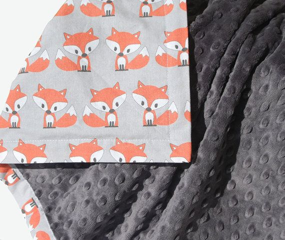 Little Fox Baby Blanket with dark grey minky - Gender Neutral - Simply Boco Exclusive Design - Ready to Ship on Etsy, $56.00
