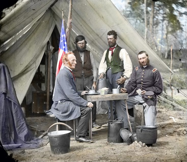 Shorpy Historical Photo Archive :: Camp Winfield Scott (Colorized)1862 @Yorktown. Note the cap indicates a 4th Regiment Artillery officer being visited by a civilian. They are dining on hardtack and coffee. The Officer is holding a hardtack biscuit.