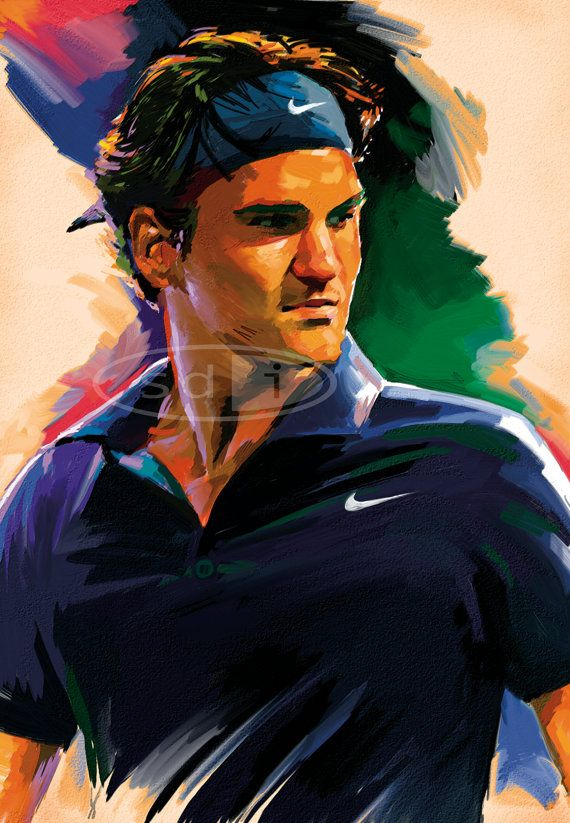 Roger Federer tennis sports art poster by ScottDawsonArtPrints, $60.00
