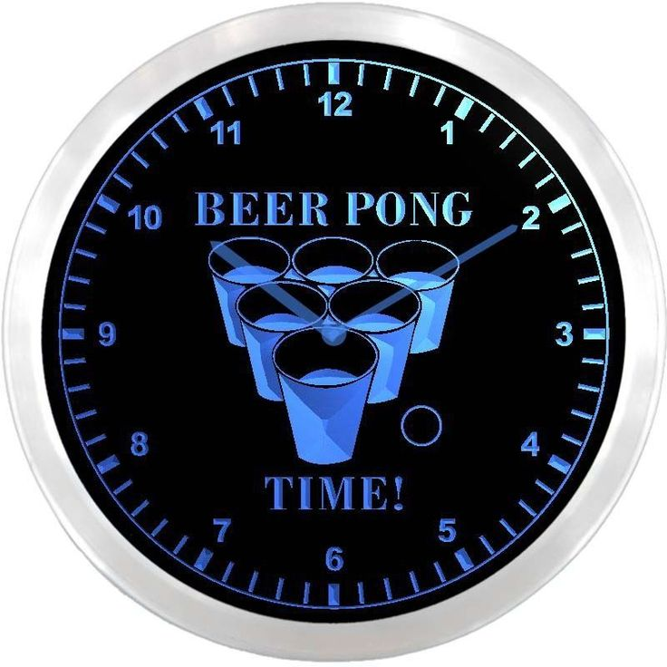 nc0915-b Beer Pong Time Drinking Bar Beer Game Neon Sign LED Wall Clock #AdvProClock