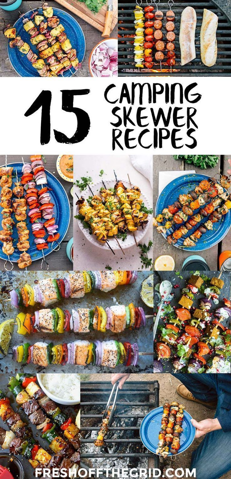 Camping skewers and kabobs are a great make ahead camping meal that can easily be customized and scaled up to feed a crowd. They are fun to make and cook right on the campfire for easy cleanup. Camping food ideas | Campfire recipes #AwesomeCampingTips