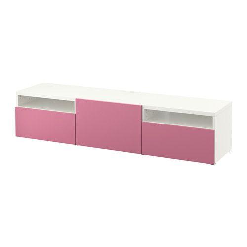 BESTÅ Banc TV IKEA Les tiroirs et les portes se referment doucement en silence grâce à la fonction intégrée de fermeture en douceur.
