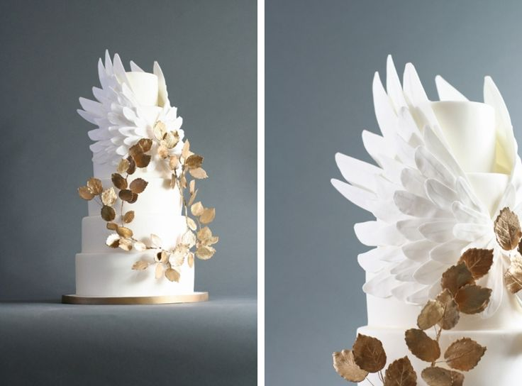 Stunning angel wings, white on white cake with gold leaves