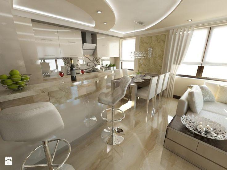 Duża otwarta kuchnia, styl glamour - zdjęcie od iProjektowanieWnętrz