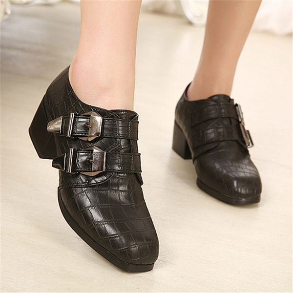 British Style Buckle Square Toes Chunky Heels Women Single Shoes