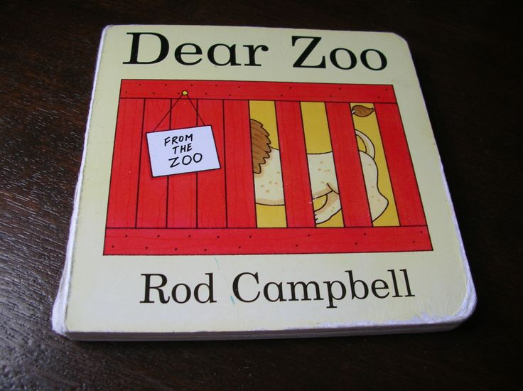 Dear Zoo (cardboard pages) To read to baby. Babies can imitate sounds before they can speak, so love this book.  They also love to find the hidden animals under the flaps.  Cardboard pages mean you can let the baby read it themselves.