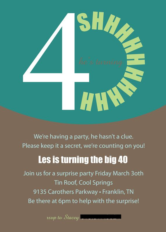 Printable or Emailable 40th Surprise Birthday Party by bugluv, $14.00