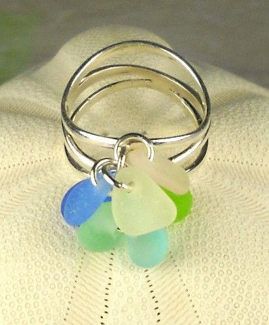 Eco Friendly Genuine Sea Gl Ring Pastel Sterling Silver Wave Jewelry