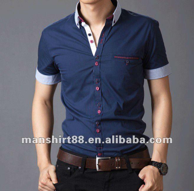 Cuello de contraste de algodón 100% slim fit camisa de manga corta casual para hombre