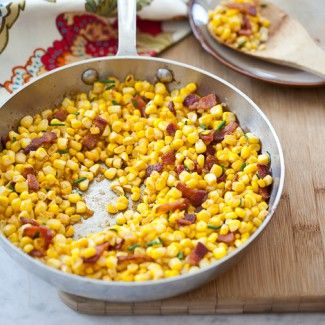Smoky Corn with Chives & Bacon: Smokey Corn, Paprika Corn, Side Dishes, Smoke Paprika, Cooking Recipe, Thanksgiving Side, Bacon Salad, Sidedish, Bacon Recipe