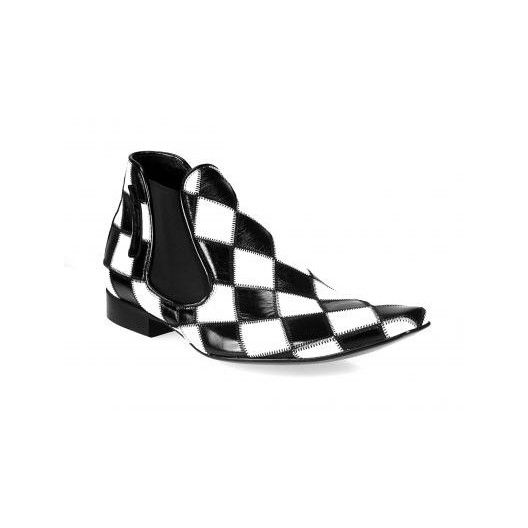 Pánske členkové topánky bielo-čierne - fashionday.eu