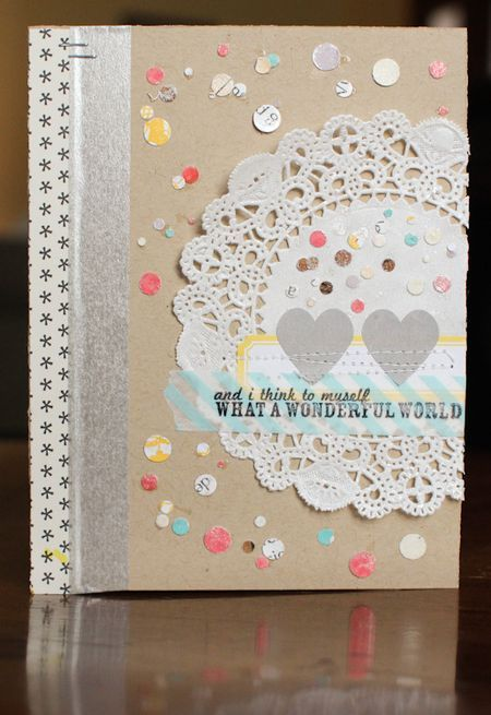 card--confetti, label stickers, doilies and the sentiment stamp is from one of the new SC sets.