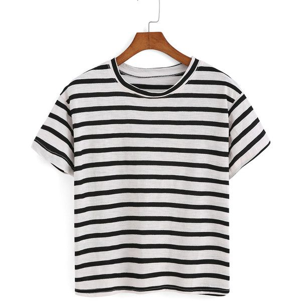 Striped Black T-shirt ($7.90) ❤ liked on Polyvore featuring tops, t-shirts, shirts, crop tops, black, black t shirt, polyester shirt, crop t shirt, black short sleeve shirt and short sleeve tops