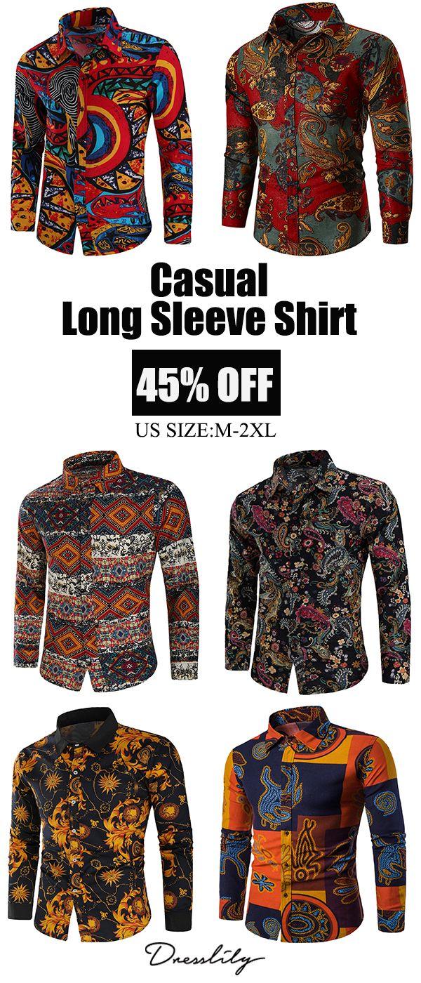 84e3b77f981 Flowers Geometric Tribal Print Casual Shirt.Extra 12% off code DL123   dresslily