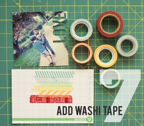 washi tape and die cut on photos