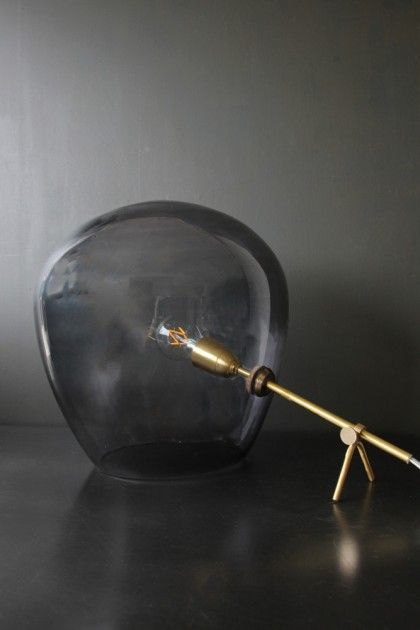 Brass & Smoked Glass Tripod Table Lamp