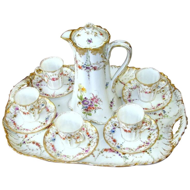Antique French Haviland Limoges Hand-Painted Porcelain 13-Piece Chocolate Set | From a unique collection of antique and modern platters and serveware at https://www.1stdibs.com/furniture/dining-entertaining/platters-serveware/