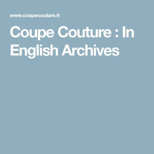 Coupe Couture : In English Archives