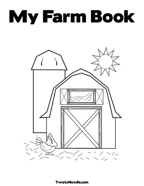 Barn with Hen Coloring Page Farm