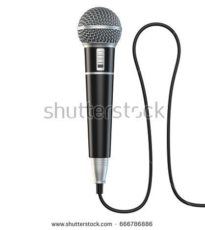 Microphone and cable isolated on white background 3D render.