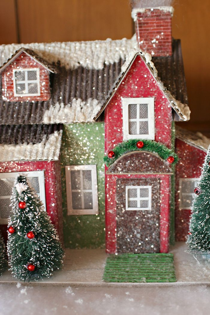 decorated paper mache house  | Posted by Judy@cutest-little-things.blogspot.com at 4:33 PM