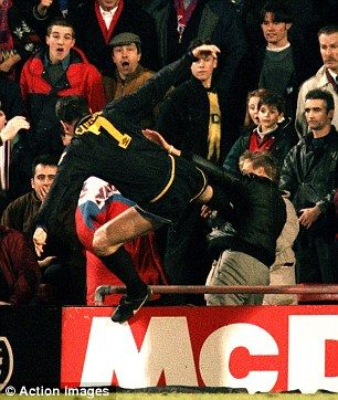 Infamous moment: Eric Cantona kung-fu kicks a Crystal Palace fan at Selhurst Park in 1995